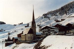 St. Antönien church and hotels, snow