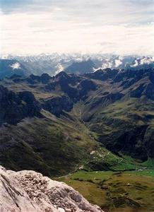 Partnun and mountain range beyond