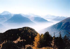 View from Riederalp, misty valley