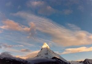 Matterhorn with lighted top, blue sky