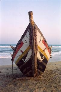 Decorated fishing boat, Adyar beach, Madras