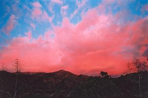 Red clouds on blue sky, Ojai valley