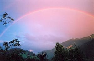 Rainbow and pink sky over Rougemont