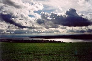Clouds against light over lake Constanz