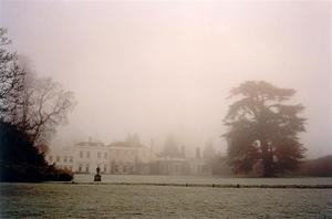 School building in the mist