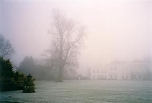 School obscured by dense mist